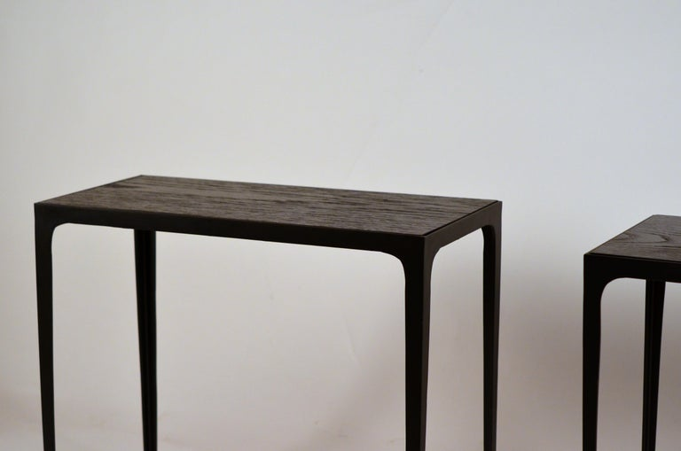 French Pair of Chic Ebonized Oak 'Esquisse' Side Tables by Design Frères For Sale