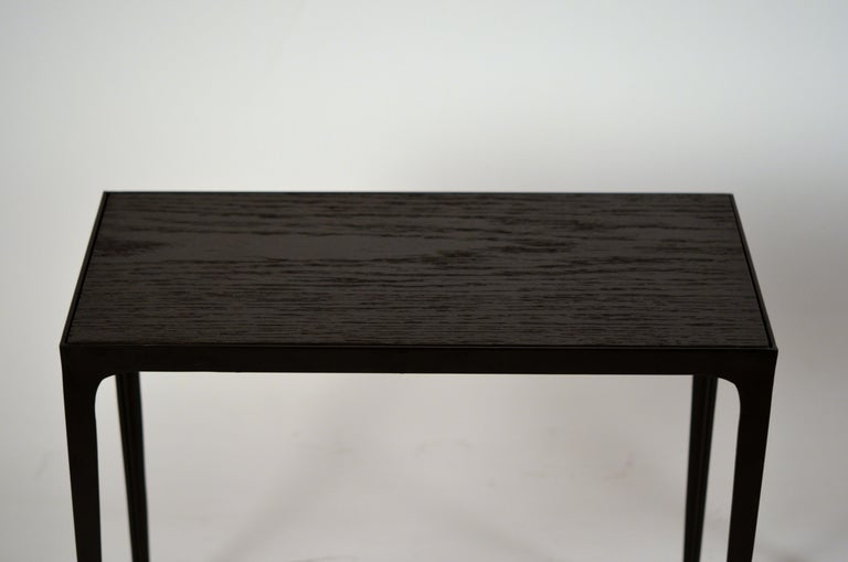 Hand-Carved Pair of Chic Ebonized Oak 'Esquisse' Side Tables by Design Frères For Sale