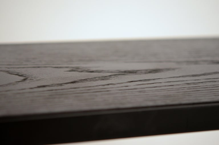 Steel Pair of Chic Ebonized Oak 'Esquisse' Side Tables by Design Frères For Sale