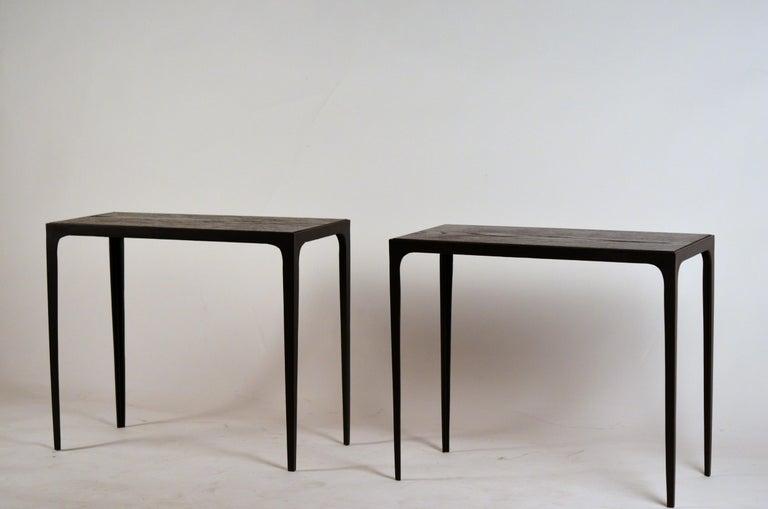 Pair of Chic Ebonized Oak 'Esquisse' Side Tables by Design Frères For Sale 1