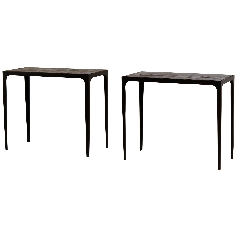 Pair of Chic Ebonized Oak 'Esquisse' Side Tables by Design Frères