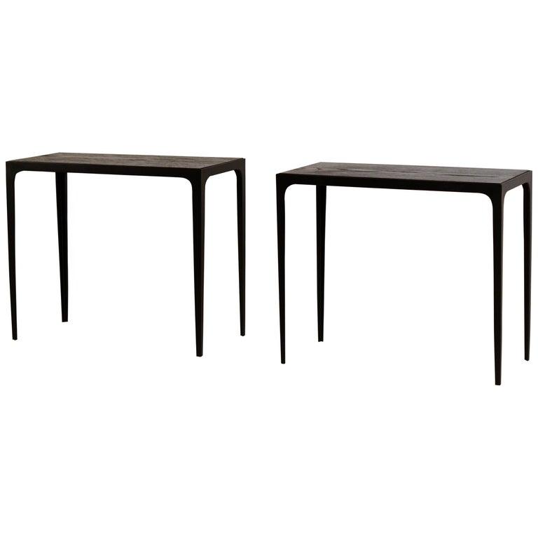 Pair of Chic Ebonized Oak 'Esquisse' Side Tables by Design Frères For Sale