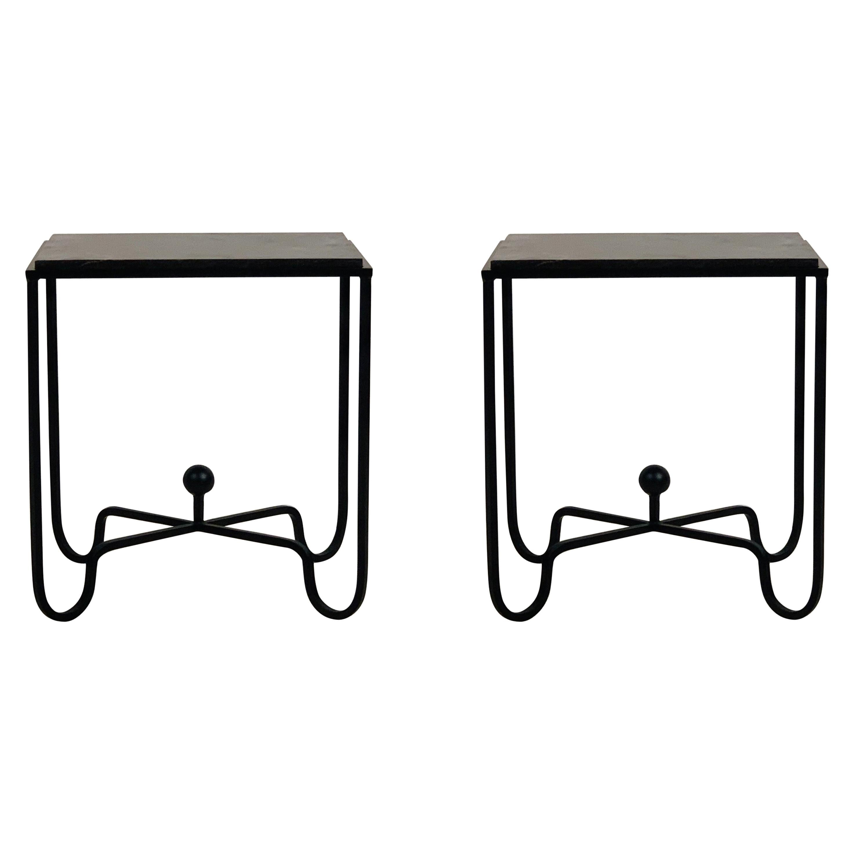 Pair of Chic 'Entretoise' Black Limestone Night Stands by Design Frères