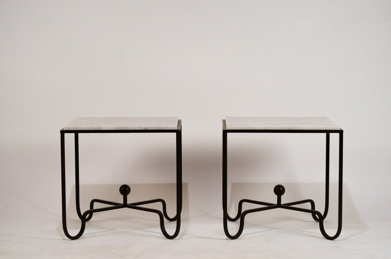 Patinated Pair of Chic 'Entretoise' Veined White Quartz Side Tables by Design Frères For Sale