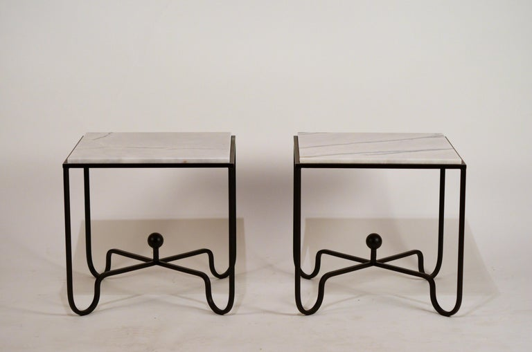 Contemporary Pair of Chic 'Entretoise' Veined White Quartz Side Tables by Design Frères For Sale