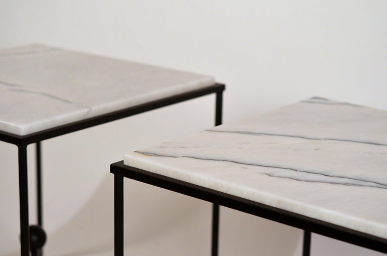 Steel Pair of Chic 'Entretoise' Veined White Quartz Side Tables by Design Frères For Sale