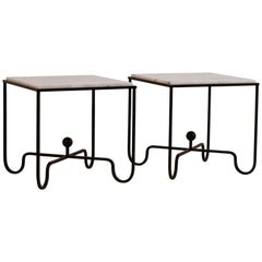 Pair of Chic 'Entretoise' Veined White Quartz Side Tables by Design Frères