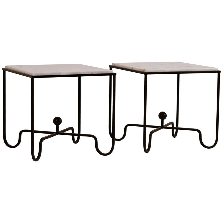 Pair of Chic 'Entretoise' Veined White Quartz Side Tables by Design Frères For Sale