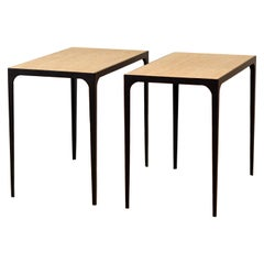 Pair of Chic 'Esquisse' Grooved Ivory Travertine Side Tables by Design Frères