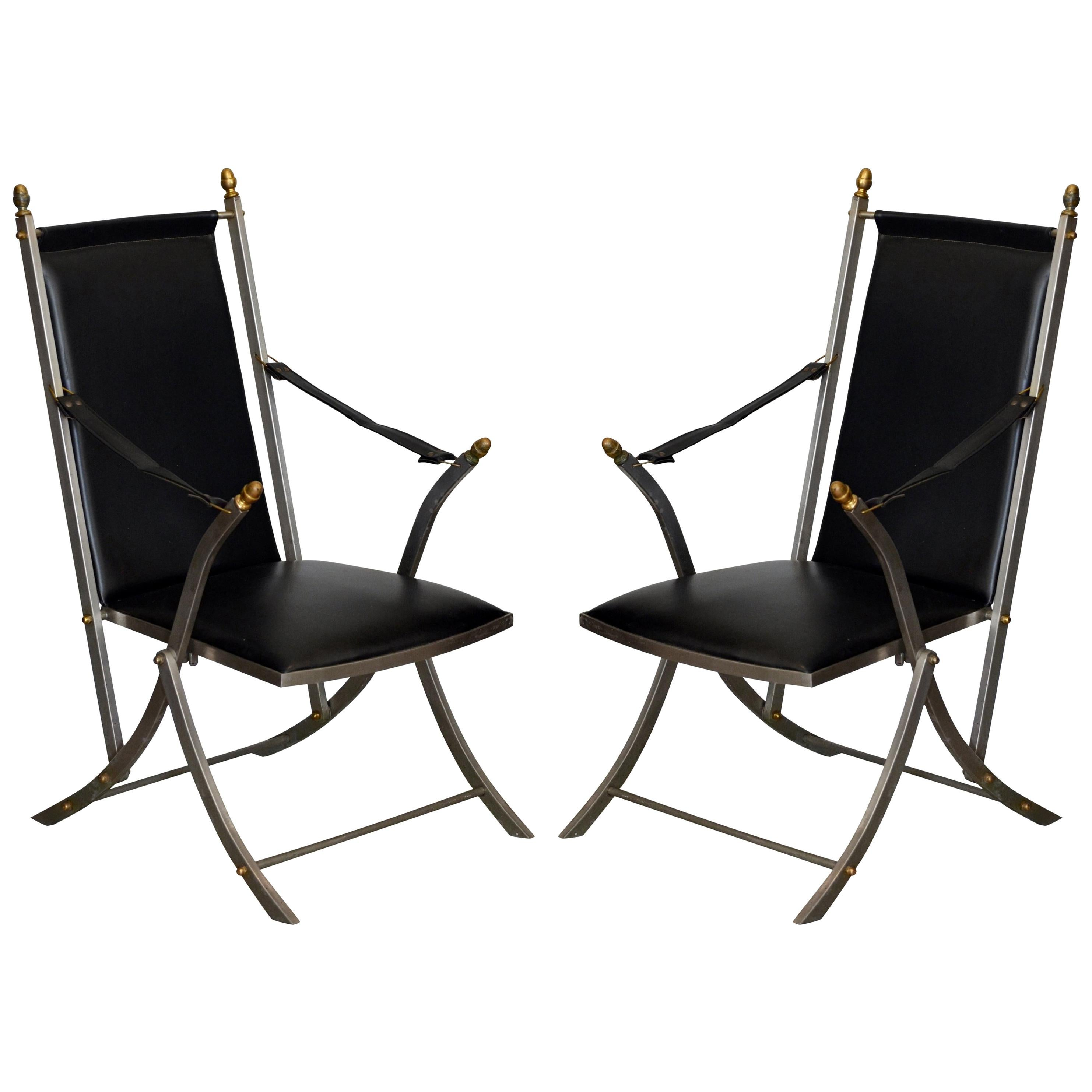 Pair of Chic Folding Campaign Armchairs in the Style of Maison Jansen