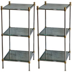 Pair of Chic French 1960s Three-Tiered Mirrored Side Tables