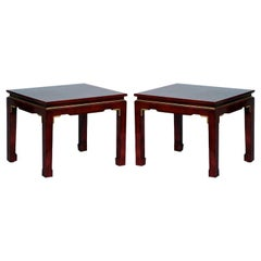 Pair of Chic French 1960s Asian Inspired Lacquer Tables