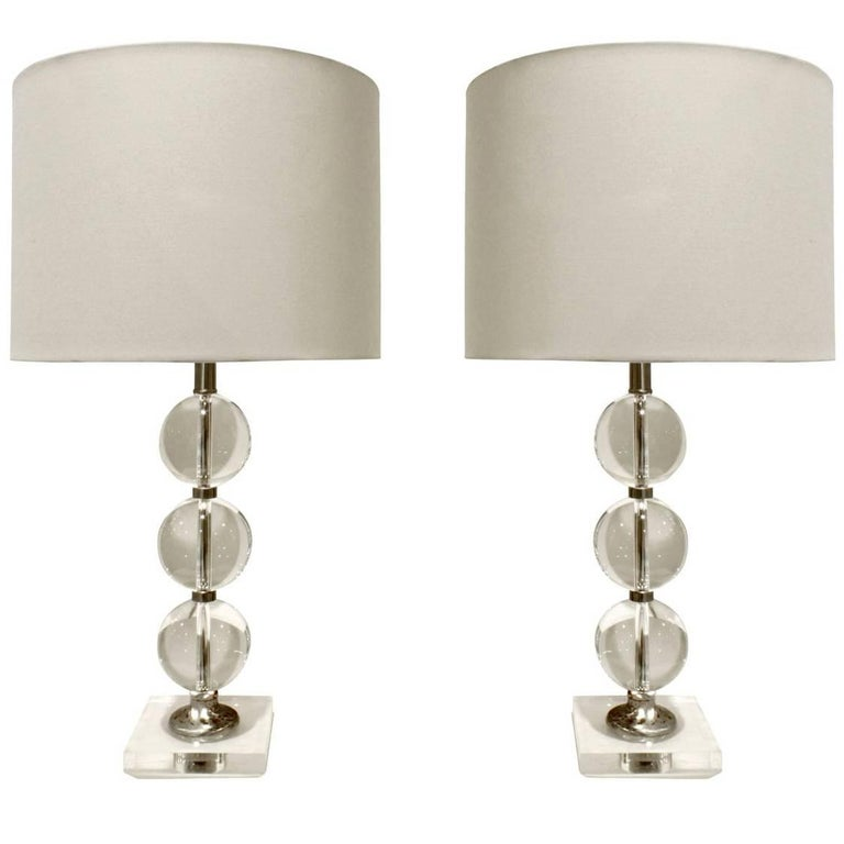 Pair of Chic Glass Ball Table Lamps, 1940s For Sale