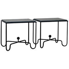 Pair of Chic Grey Slate 'Entretoise' Side Tables by Design Frères