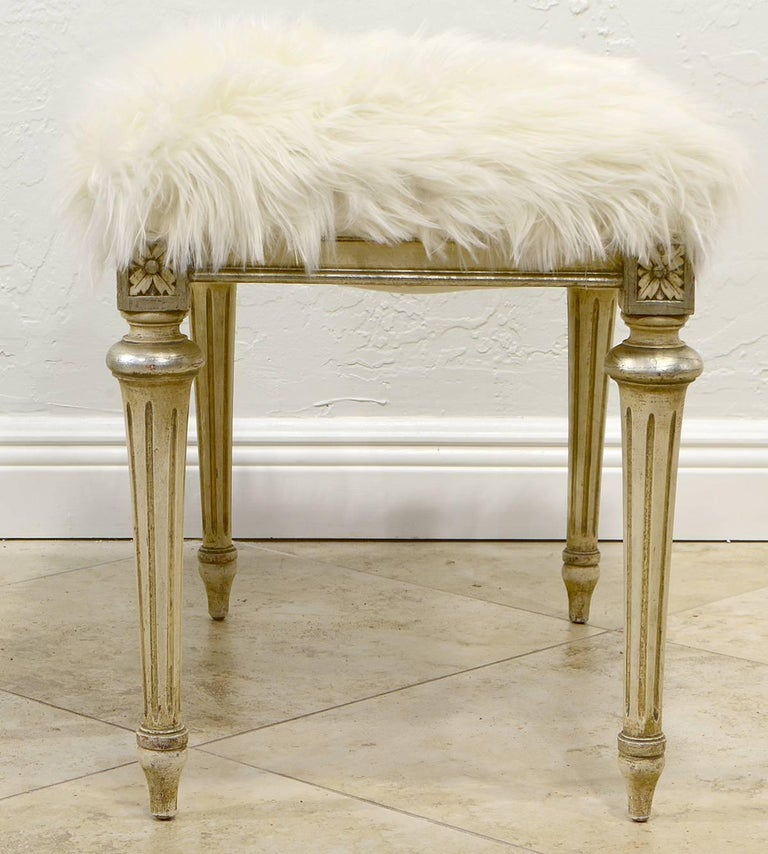 American Pair of Chic Hollywood Regency Louis XVI Style Faux Fur Covered Benches For Sale