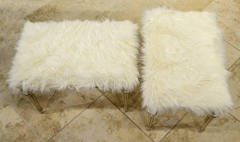 Painted Pair of Chic Hollywood Regency Louis XVI Style Faux Fur Covered Benches For Sale