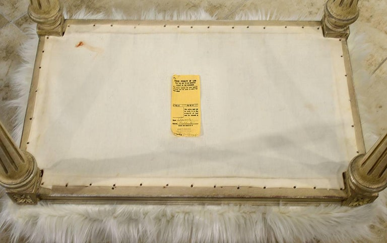 Pair of Chic Hollywood Regency Louis XVI Style Faux Fur Covered Benches In Good Condition For Sale In Ft. Lauderdale, FL