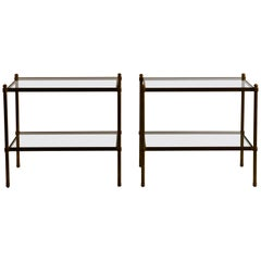 Pair of Chic Maison Baguès style Patinated Brass and Glass Side Tables