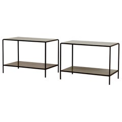 Pair of Chic 'Rectiligne' Mirrored End Tables by Design Frères