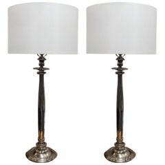 Pair of Chic Silvered Cast Bronze Fluted Column Table Lamps