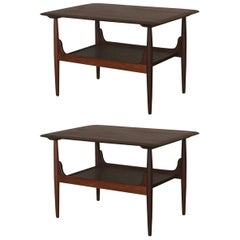 Pair of Chic Two-Tier Walnut Side Tables