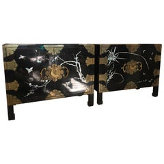 Pair of Chic Vintage Chinoiserie Nightstands with Mother of Pearl and Brass Trim