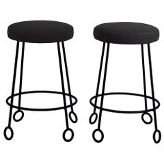 Pair of Chic Wrought Iron and Boucle Counter Stools