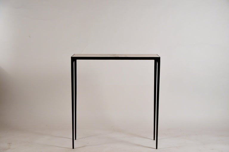 Pair of Chic Wrought Iron and Marble 'Esquisse' Consoles by Design Frères For Sale 3