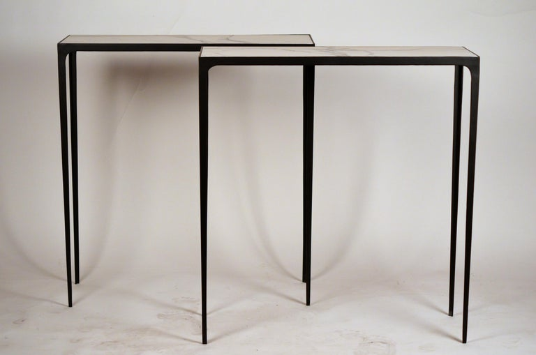 French Pair of Chic Wrought Iron and Marble 'Esquisse' Consoles by Design Frères For Sale