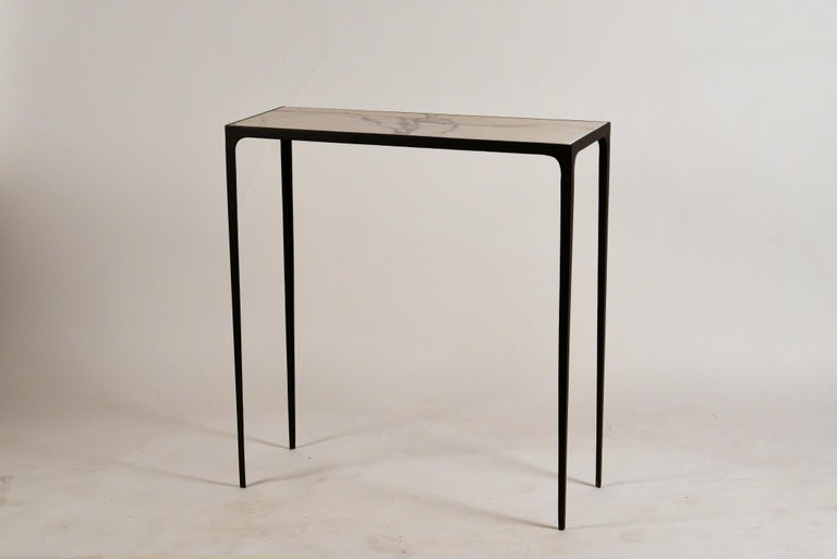 Polished Pair of Chic Wrought Iron and Marble 'Esquisse' Consoles by Design Frères For Sale