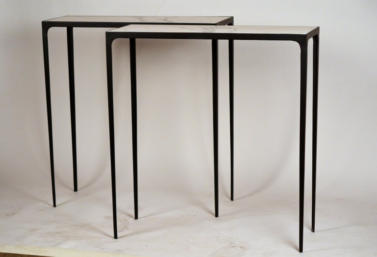 Contemporary Pair of Chic Wrought Iron and Marble 'Esquisse' Consoles by Design Frères For Sale