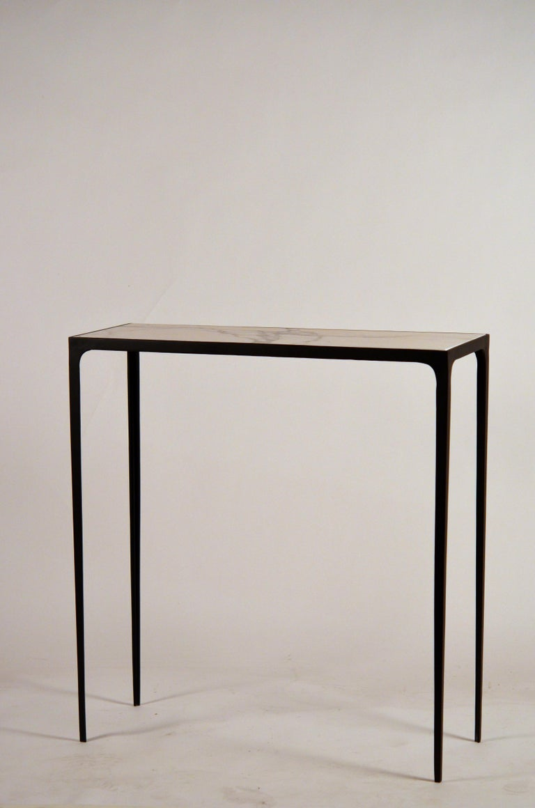 Pair of Chic Wrought Iron and Marble 'Esquisse' Consoles by Design Frères For Sale 1