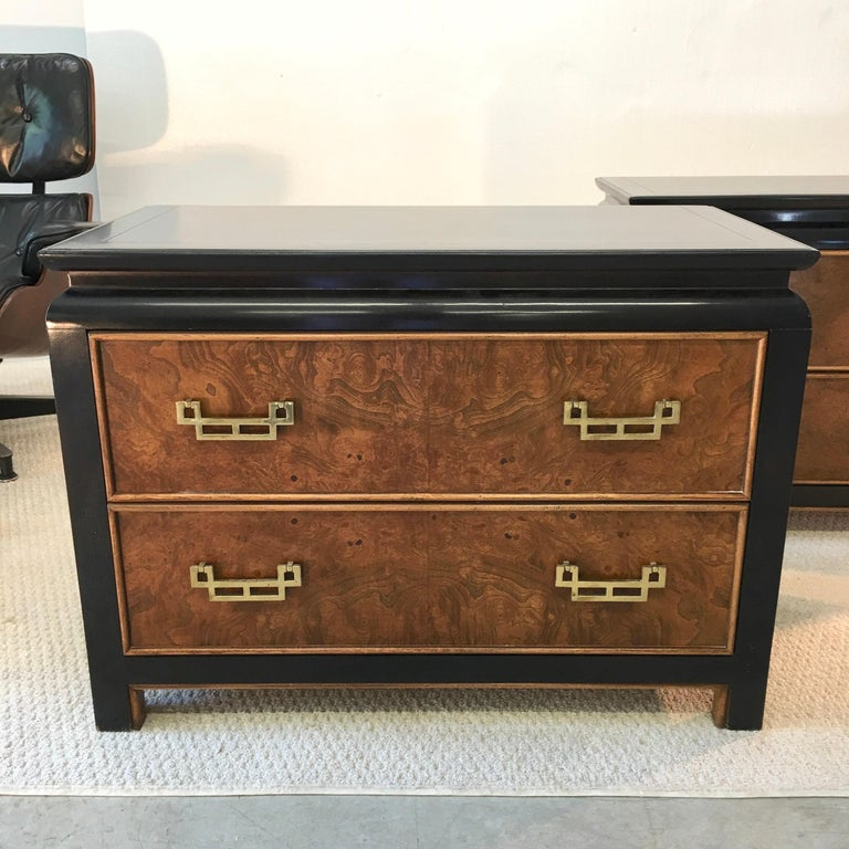 Hollywood Regency Pair of Chin Hua Two-Drawer Chests by Ray Sabota for Century Furniture For Sale