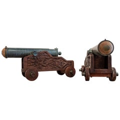 Pair of Chinese 12-Pounder Wood and Bronze Cannons