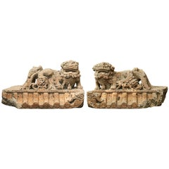 Pair of Chinese 16th-17th Century Carved Stone Guardian Lion Sculptures