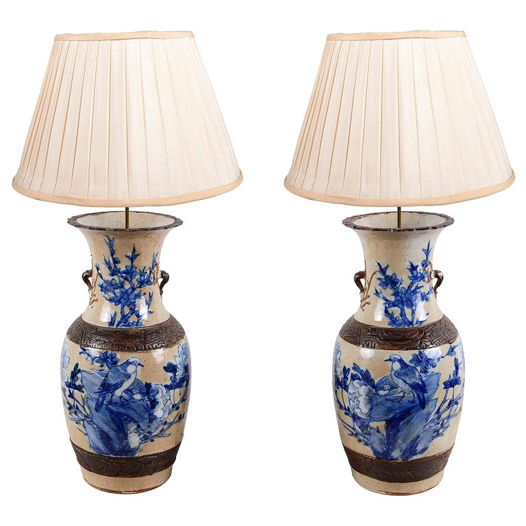 Pair of Chinese 19th Century Blue and White Crackleware Vases / Lamps For Sale