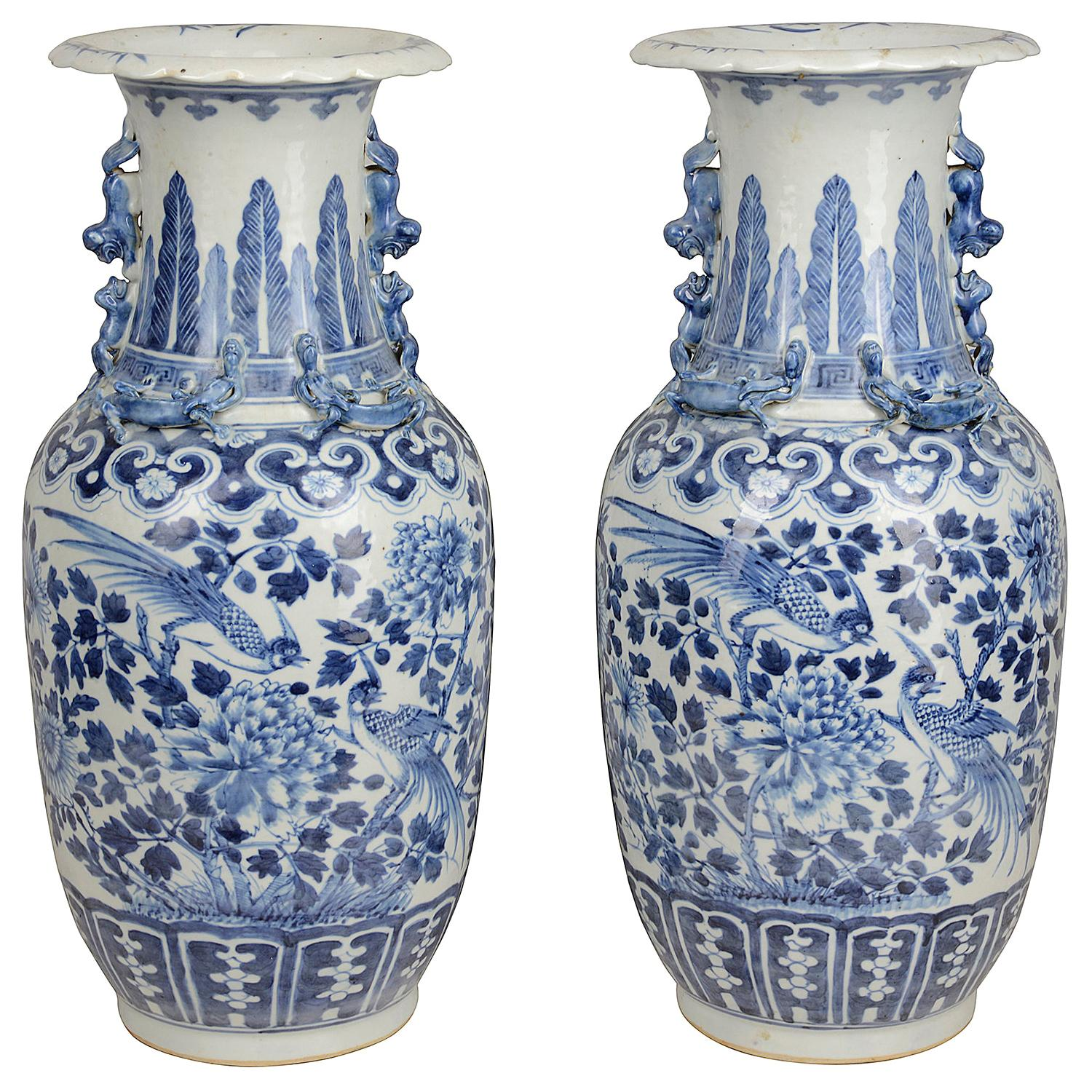 Pair of Chinese 19th Century Blue and White Vases / Lamps