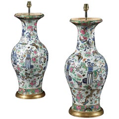 Pair of Chinese 19th Century Canton Porcelain Table Lamps