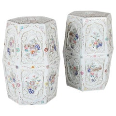 Pair of Chinese 19th Century Famille Rose on White Garden Seats