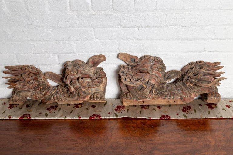 Pair of Chinese 19th Century Hand Carved and Painted Temple Guardian Lions For Sale 5