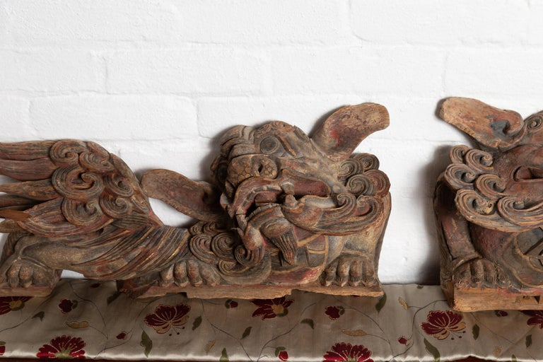 Pair of Chinese 19th Century Hand Carved and Painted Temple Guardian Lions For Sale 6