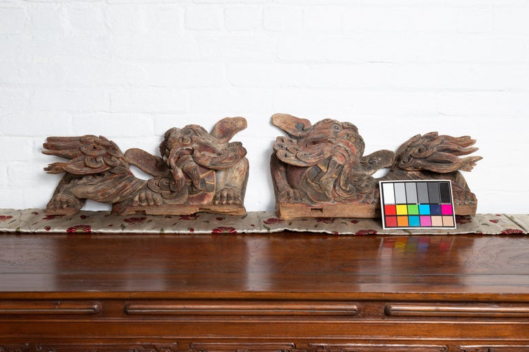 Pair of Chinese 19th Century Hand Carved and Painted Temple Guardian Lions For Sale 9
