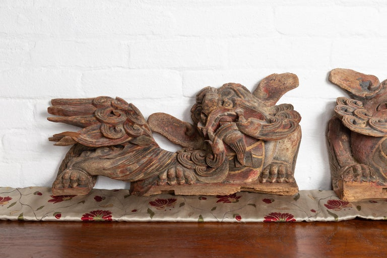 Pair of Chinese 19th Century Hand Carved and Painted Temple Guardian Lions In Good Condition For Sale In Yonkers, NY