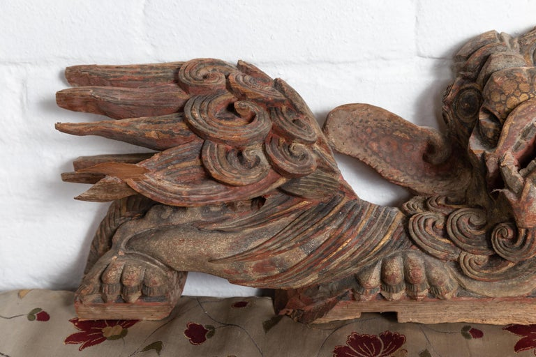 Pair of Chinese 19th Century Hand Carved and Painted Temple Guardian Lions For Sale 2
