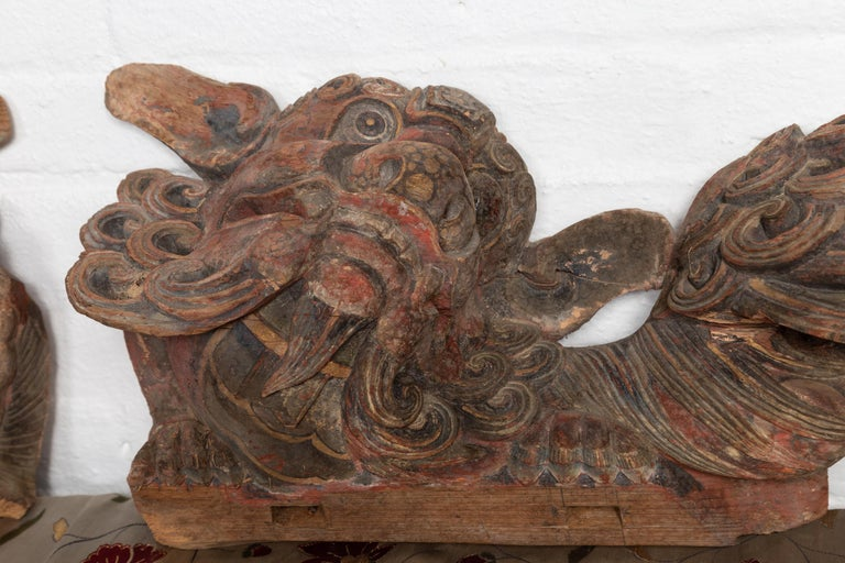 Pair of Chinese 19th Century Hand Carved and Painted Temple Guardian Lions For Sale 3