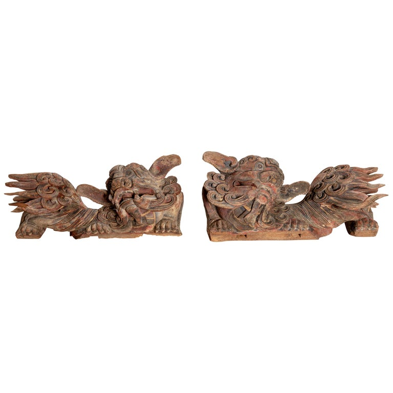 Pair of Chinese 19th Century Hand Carved and Painted Temple Guardian Lions For Sale