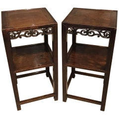 Pair of Chinese 19th Century Hardwood Stands