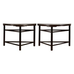 Pair of Chinese 19th Century Qing Dynasty Demilune Tables with Dark Patina