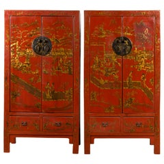 Pair of Chinese 19th Century Qing Red Lacquered Cabinets with Chinoiserie Decor