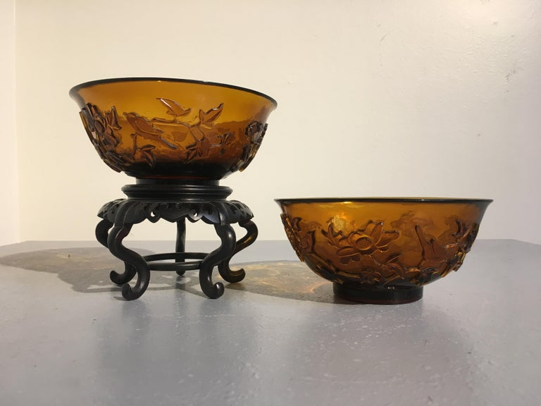 Hand-Carved Pair of Chinese Amber Peking Glass Carved Bowls, Qing Dynasty, Late 19th Century For Sale
